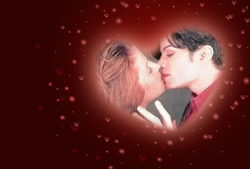 MJ Kissing Valetine Day card